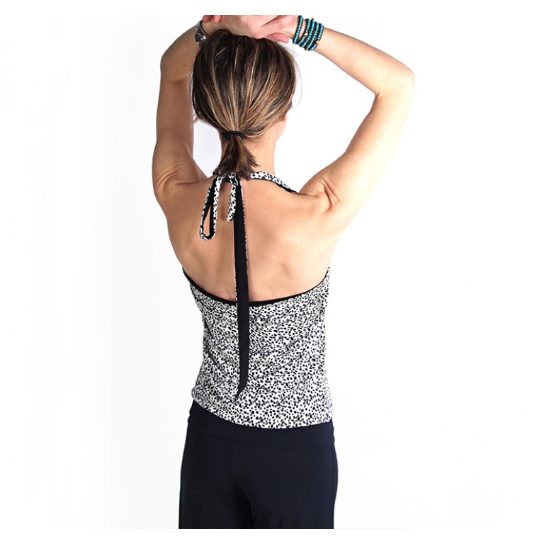 Lisadore Dance Couture - Reversible Halter Top Dalmatier Y Negra