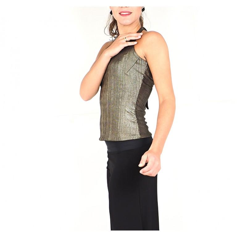 Lisadore Dance Couture - Reversible Halter Top - Bronce Dorado Y Negro