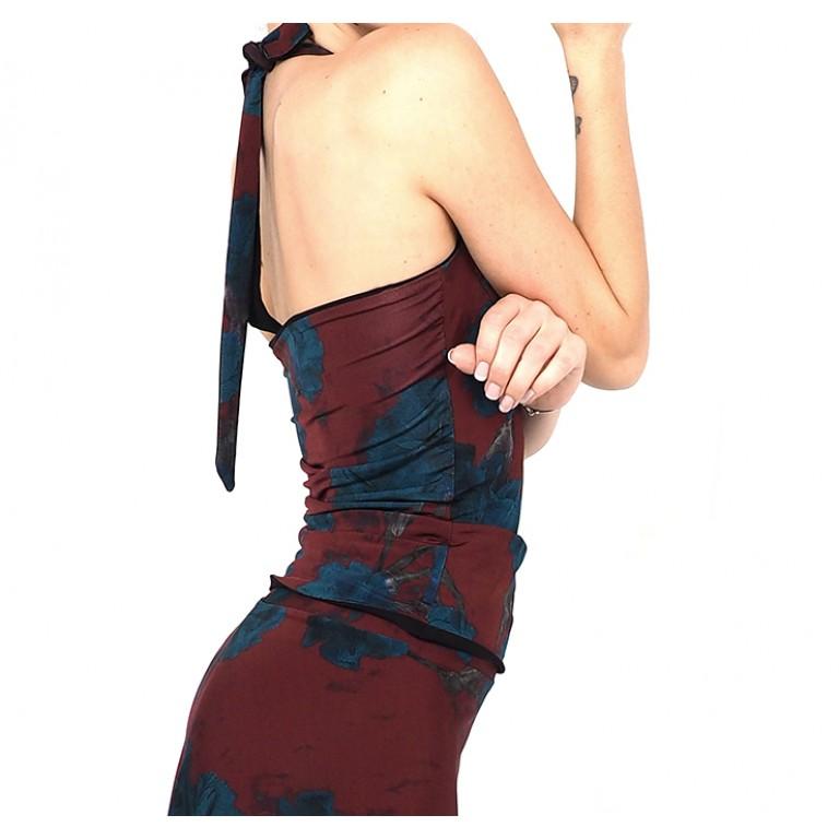 Lisadore Dance Couture - Reversible Halter Top - Bordo Rojo Y Turquesa