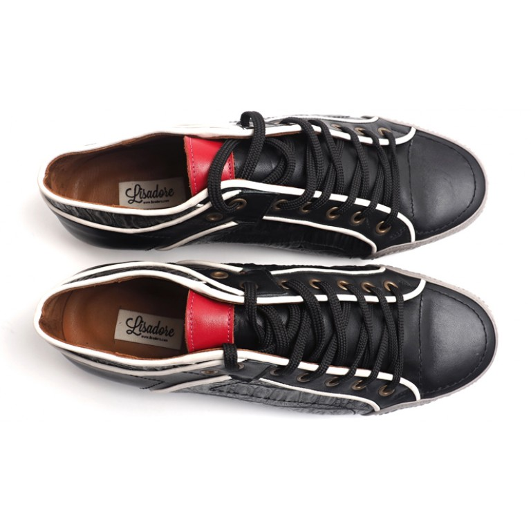 Lisadore Men Shoes - Croco Negro Blanco Pitt