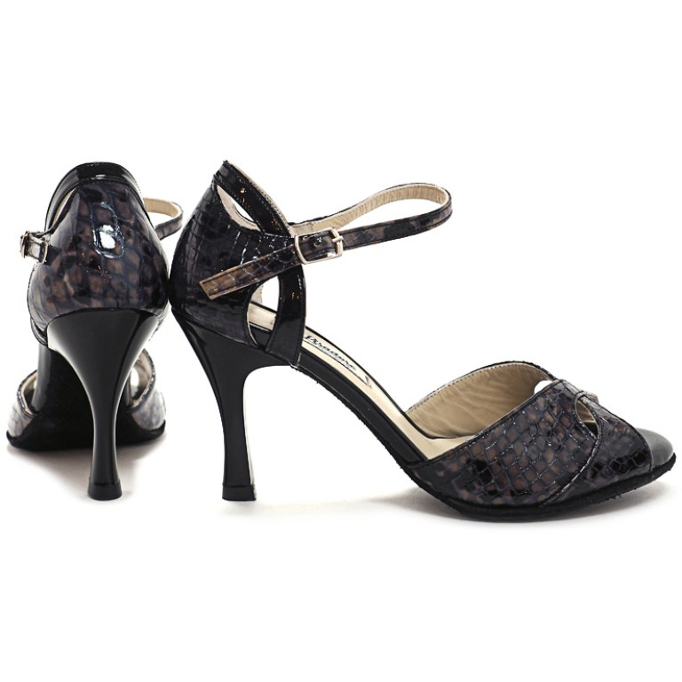 Lisadore - Charol Reptil Negro Y Beige Butterfly