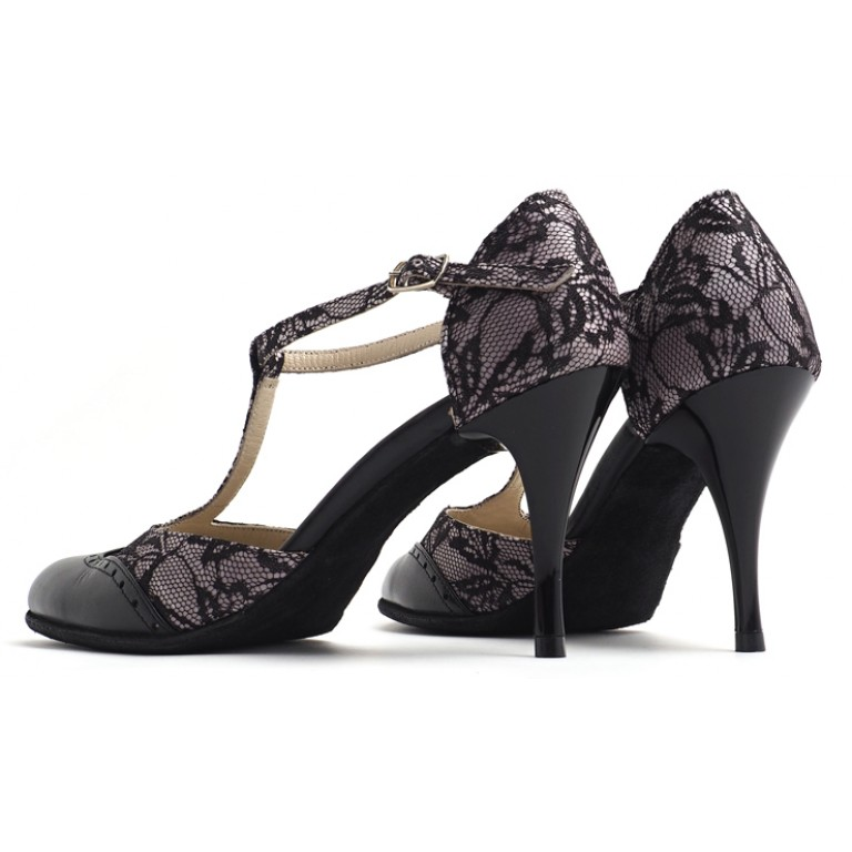 Lisadore - Closed - Encaje Negra - Suede Sole