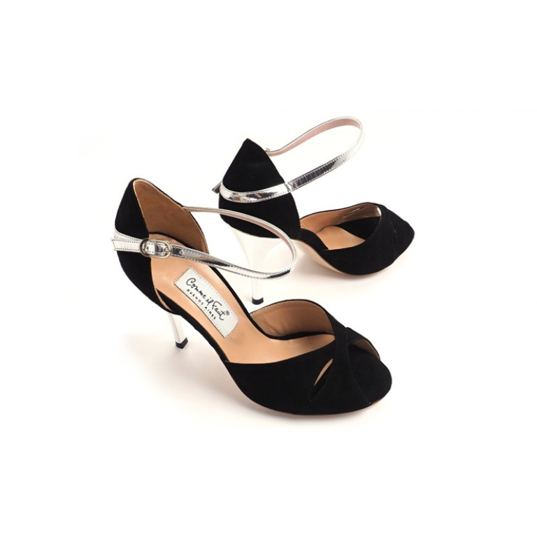 Comme il Faut - Gamuza Negra Y Plata Butterfly - Extra Padding