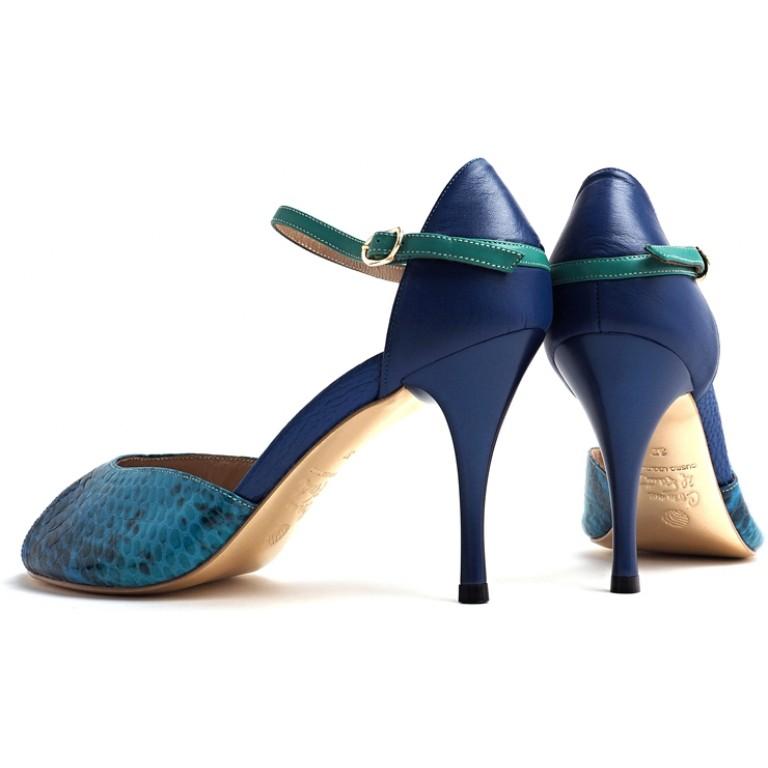Comme il Faut - Reptil Azul Turquoise Shoes